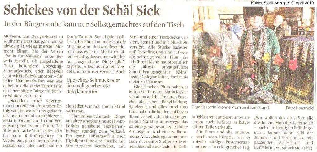 """""""Schickes von der Schäl Sick"""" Artikel im Kölner Stadt-Anzeiger am 19.04.2019 (c) DuMont Medien"""