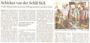 """""""Schickes von der Schäl Sick"""" Artikel im Kölner Stadt-Anzeiger am 9. April 2019"""