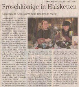 """""""Froschkönige in Halsketten  Ausgefallene Accessoires beim Handemade-Markt"""" Artikel im Kölner Wochenspiegel vom 26. März 2019"""