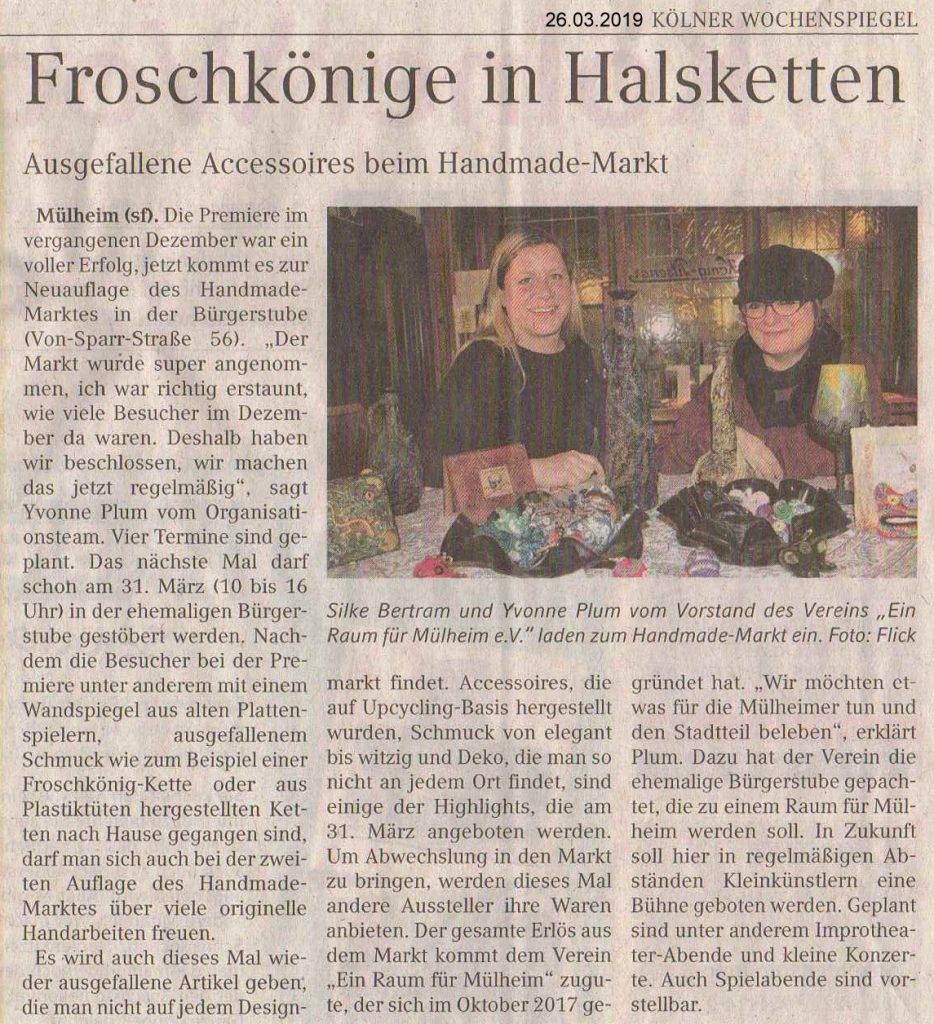 """Artikel im Kölner Wochenspiegel vom 26. März 2019 """"Froschkönige in Halsketten Ausgefallene Accessoires beim Handemade-Markt"""""""